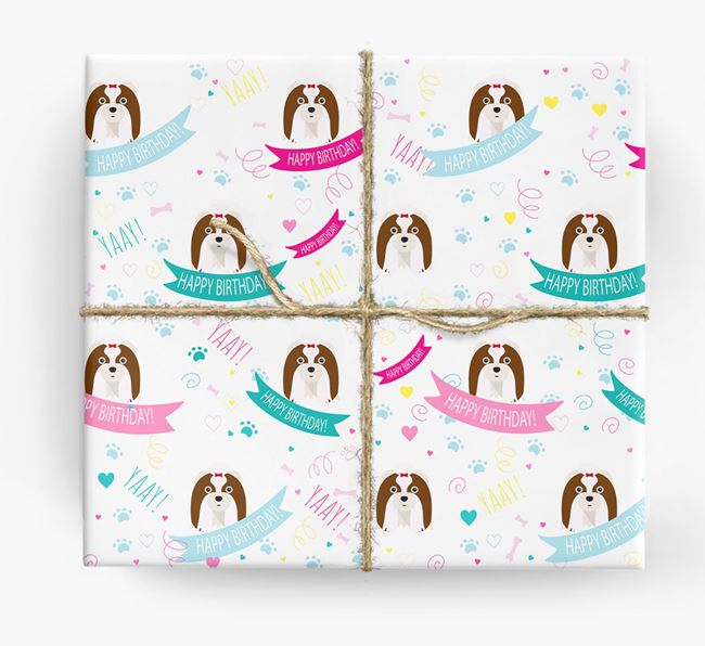 'Happy Birthday' Ribbon Wrapping Paper with Shih Tzu Icons