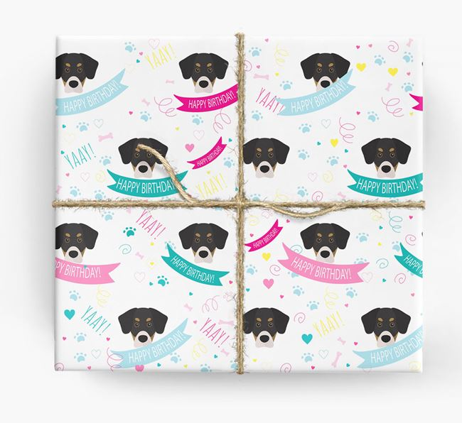 'Happy Birthday' Ribbon Wrapping Paper with Siberian Cocker Icons