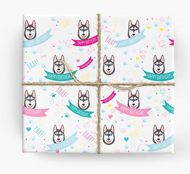 'Happy Birthday' Ribbon Wrapping Paper with Siberian Husky Icons