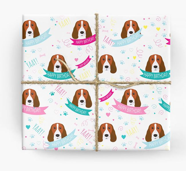 'Happy Birthday' Ribbon Wrapping Paper with Springer Spaniel Icons