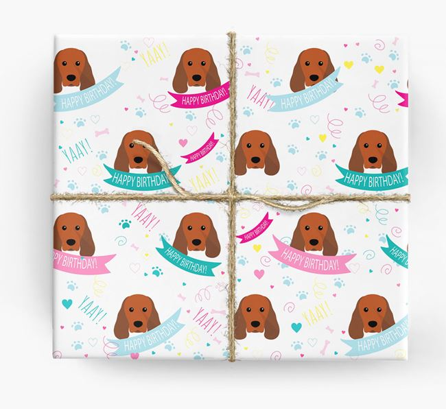 'Happy Birthday' Ribbon Wrapping Paper with Sprocker Icons