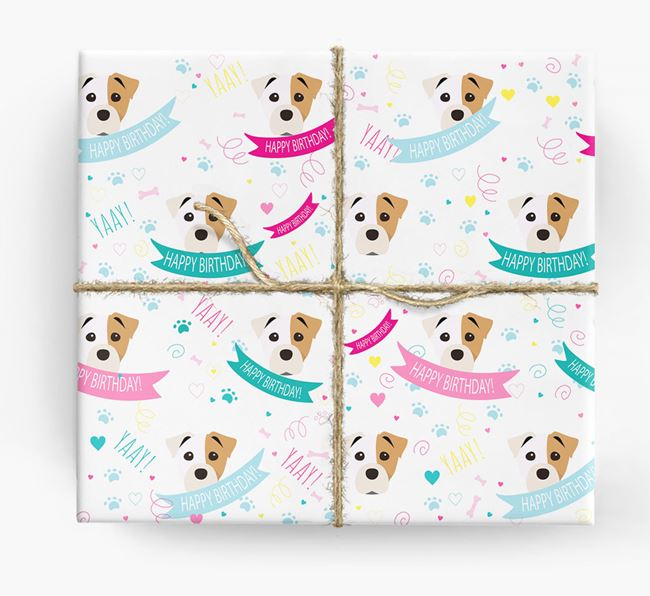 'Happy Birthday' Ribbon Wrapping Paper with Staffy Jack Icons