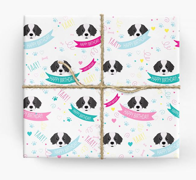 'Happy Birthday' Ribbon Wrapping Paper with Tibetan Spaniel Icons
