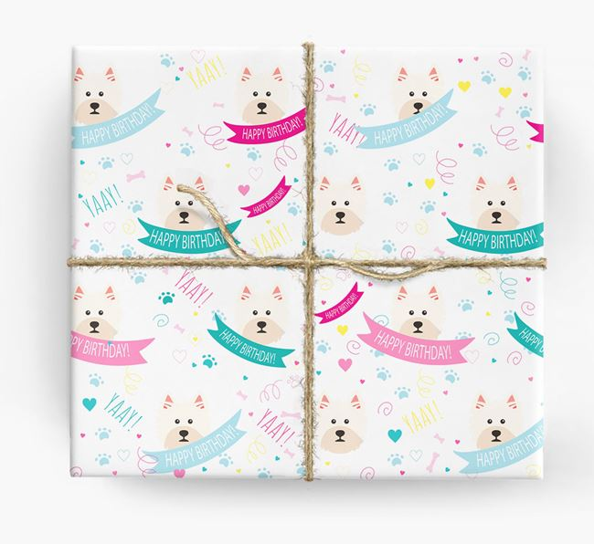 'Happy Birthday' Ribbon Wrapping Paper with West Highland White Terrier Icons