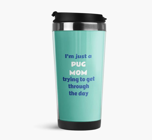 'Just a Dog Mom' Travel Flask with Dog Icon