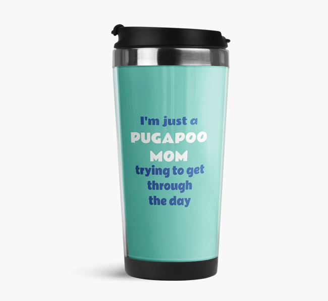 'Just a Pugapoo Mom' Travel Flask with Pugapoo Icon