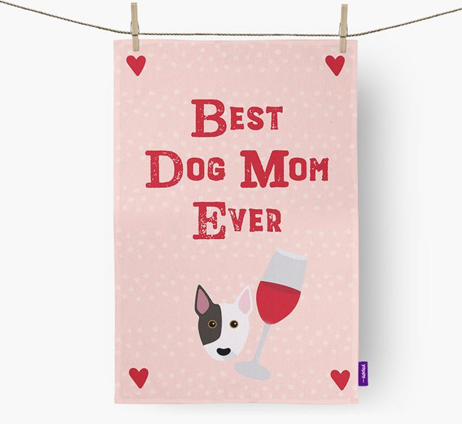 'Best Dog Mom' Dish Towel with Bull Terrier Icon
