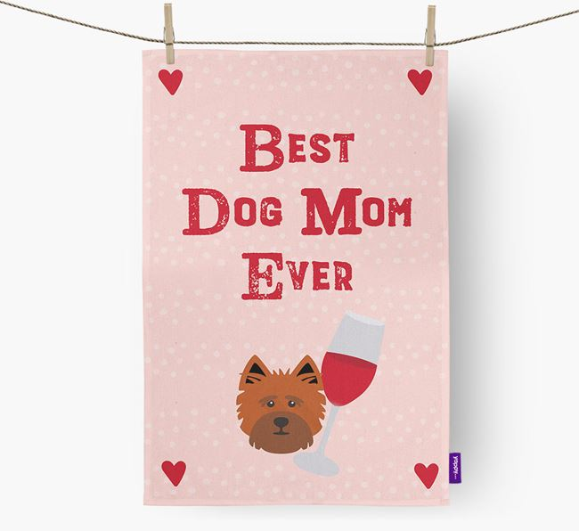 'Best Dog Mom' Dish Towel with Cairn Terrier Icon