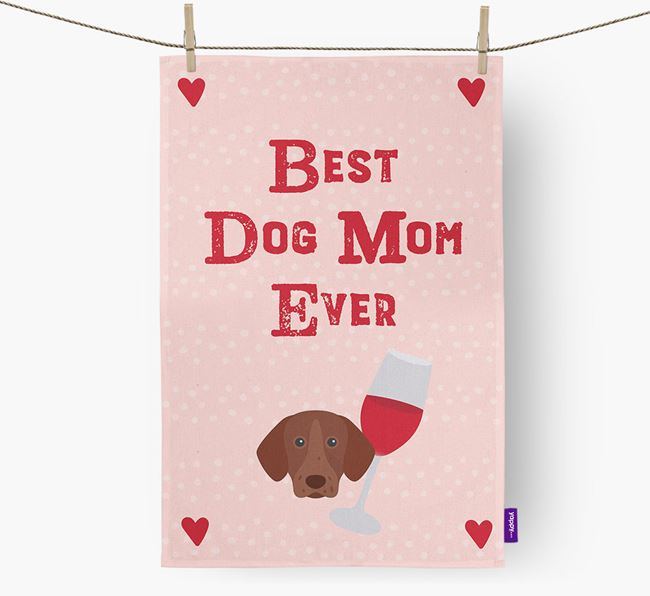'Best Dog Mom' Dish Towel with German Shorthaired Pointer Icon