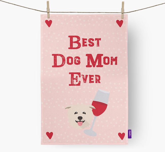 'Best Dog Mom' Dish Towel with Glen Of Imaal Terrier Icon