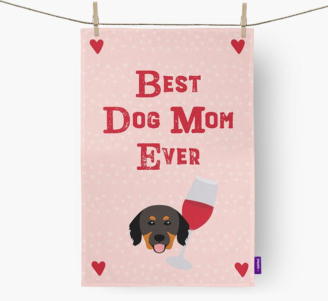 'Best Dog Mom' Dish Towel with Hovawart Icon