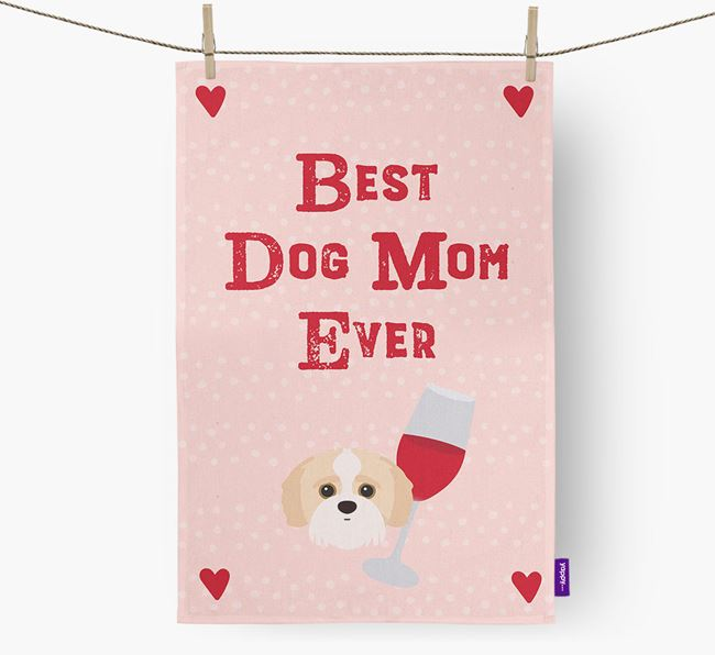 'Best Dog Mom' Dish Towel with Jack-A-Poo Icon