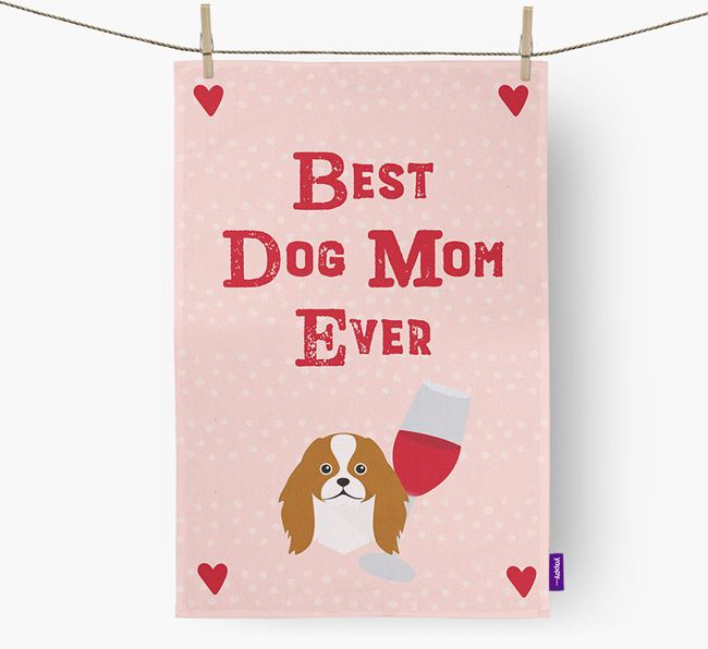 'Best Dog Mom' Dish Towel with Japanese Chin Icon