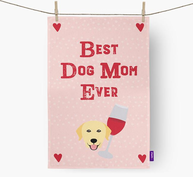 'Best Dog Mom' Dish Towel with Dog Icon