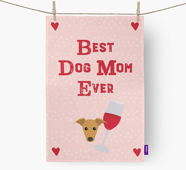'Best Dog Mom' Dish Towel with Whippet Icon