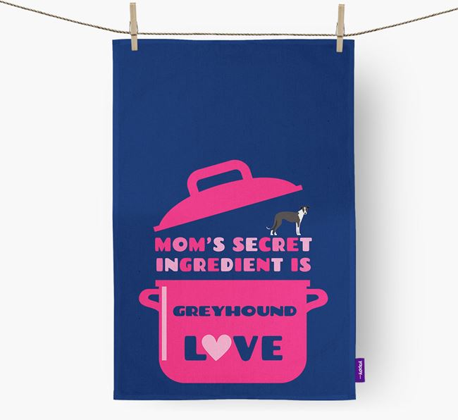 'Mom's Secret Ingredient is Greyhound Love' Tea Towel