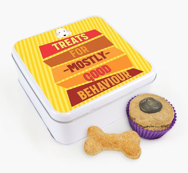 'Treats for Mostly Good Behaviour' Square Tin with Bedlington Terrier Icon