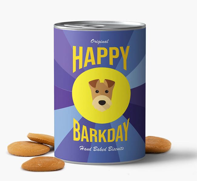 'Happy Barkday' Baked Dog Biscuits with Airedale Terrier Icon