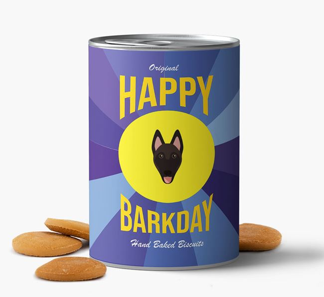 'Happy Barkday' Baked Dog Biscuits with Belgian Malinois Icon