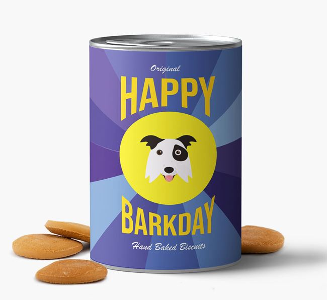 'Happy Barkday' Baked Dog Biscuits with Border Collie Icon