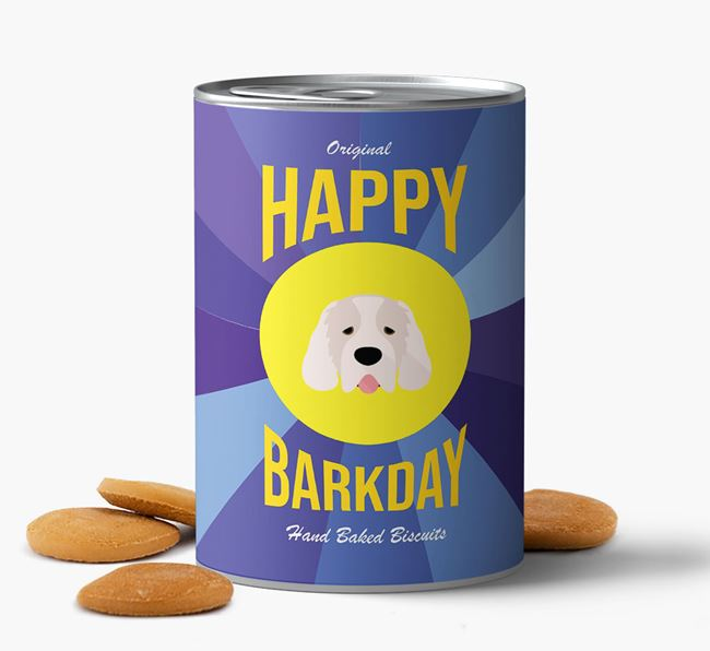 'Happy Barkday' Baked Dog Biscuits with Clumber Spaniel Icon