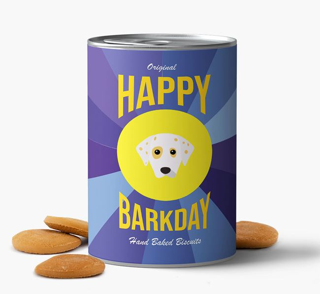 'Happy Barkday' Baked Dog Biscuits with Dalmatian Icon