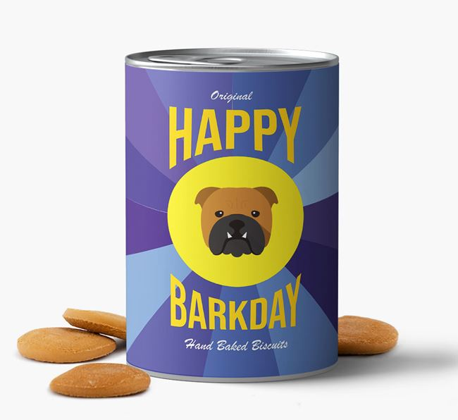 'Happy Barkday' Baked Dog Biscuits with English Bulldog Icon