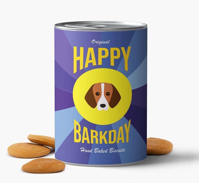 'Happy Barkday' Baked Dog Biscuits with Harrier Icon
