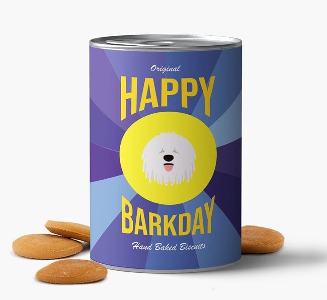 'Happy Barkday' Baked Dog Biscuits with Komondor Icon