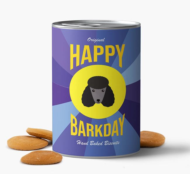 'Happy Barkday' Baked Dog Biscuits with Poodle Icon
