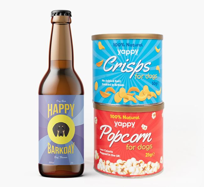 'Happy Barkday' Black and Tan Coonhound Beer Bundle