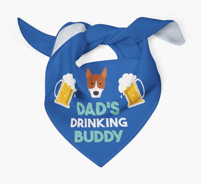 'Dad's Drinking Buddy' Bandana with Basenji Icon