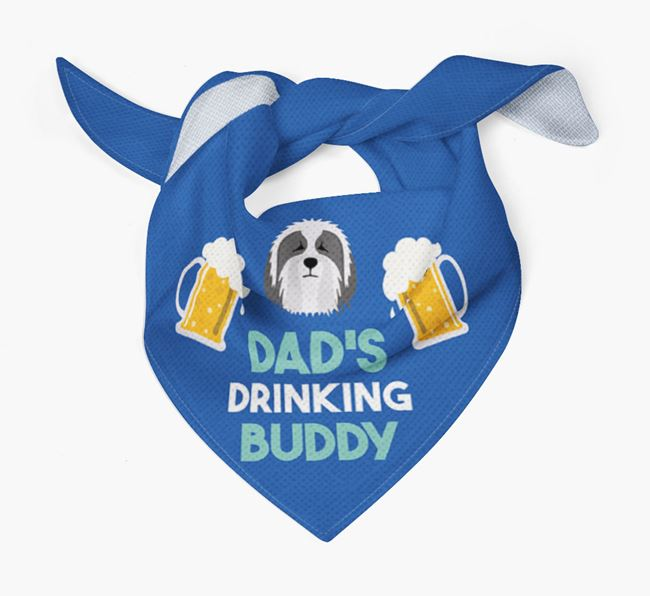 'Dad's Drinking Buddy' Bandana with Bearded Collie Icon