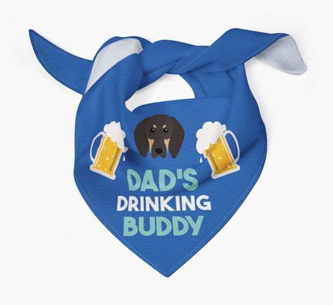 'Dad's Drinking Buddy' Bandana with Black and Tan Coonhound Icon