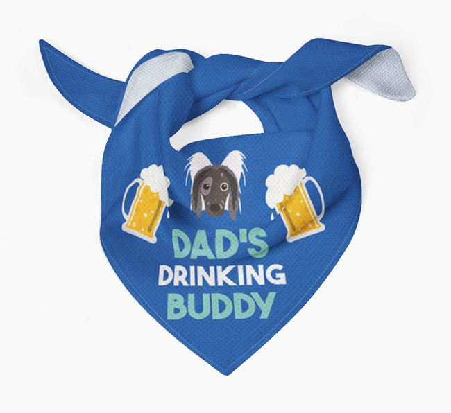 'Dad's Drinking Buddy' Bandana with Hairless Chinese Crested Icon