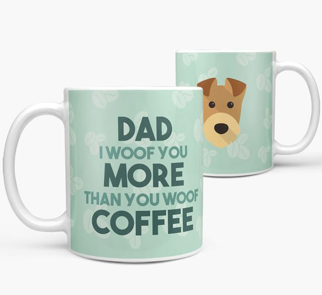 'Dad I woof you more than you woof coffee' Mug with Airedale Terrier Icon