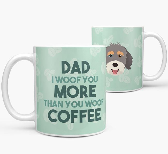 'Dad I woof you more than you woof coffee' Mug with Aussiedoodle Icon