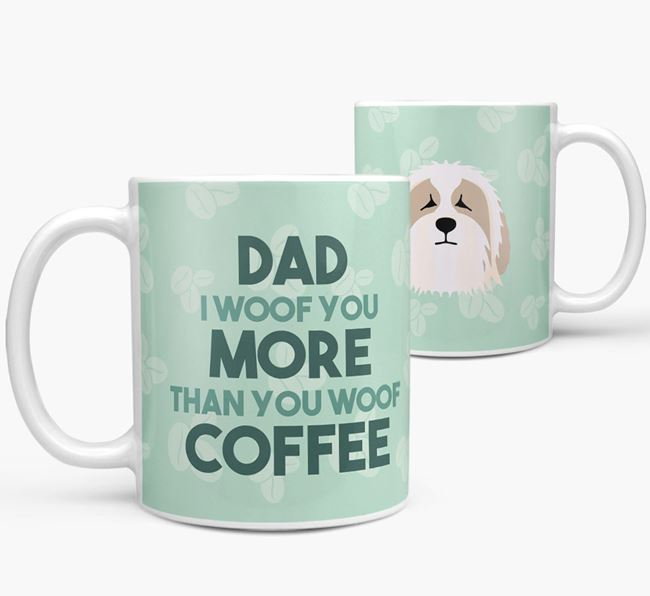 'Dad I woof you more than you woof coffee' Mug with Bearded Collie Icon