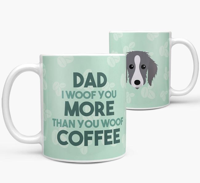 'Dad I woof you more than you woof coffee' Mug with Bedlington Whippet Icon