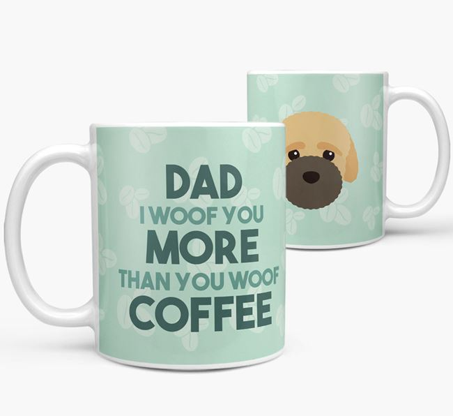 'Dad I woof you more than you woof coffee' Mug with Bich-poo Icon