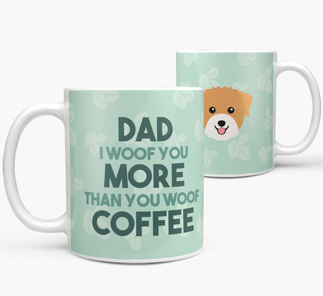 'Dad I woof you more than you woof coffee' Mug with Biewer Terrier Icon
