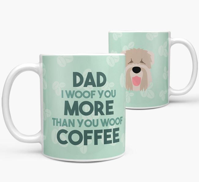 'Dad I woof you more than you woof coffee' Mug with Black Russian Terrier Icon