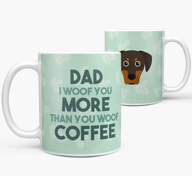 'Dad I woof you more than you woof coffee' Mug with Blue Lacy Icon