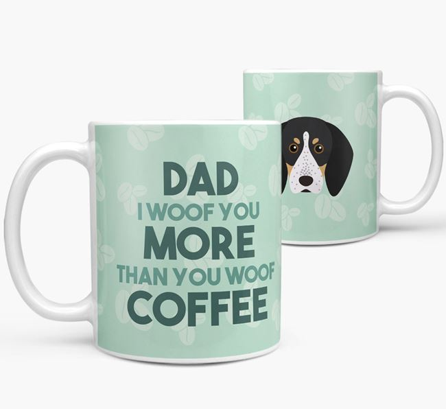 'Dad I woof you more than you woof coffee' Mug with Bluetick Coonhound Icon