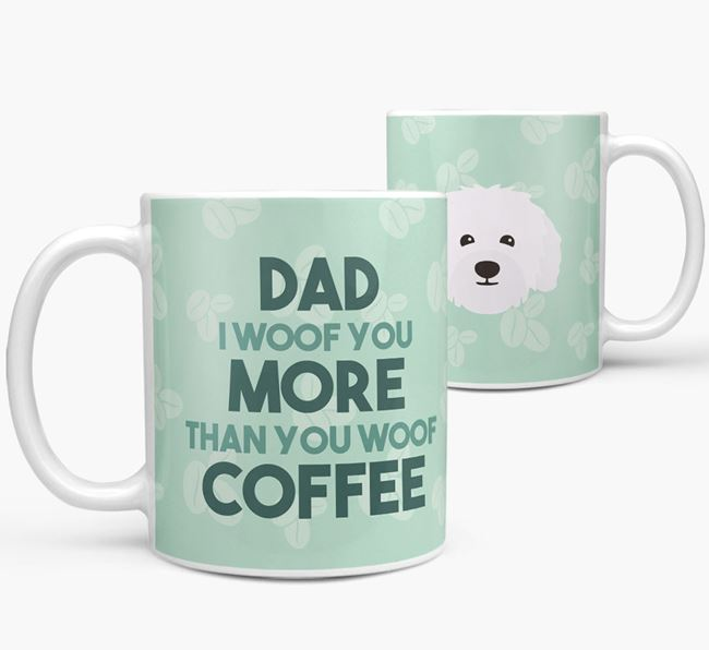 'Dad I woof you more than you woof coffee' Mug with Bolognese Icon