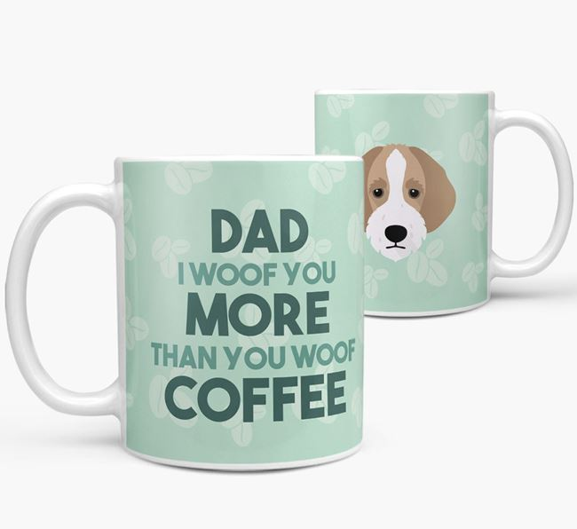 'Dad I woof you more than you woof coffee' Mug with Bordoodle Icon