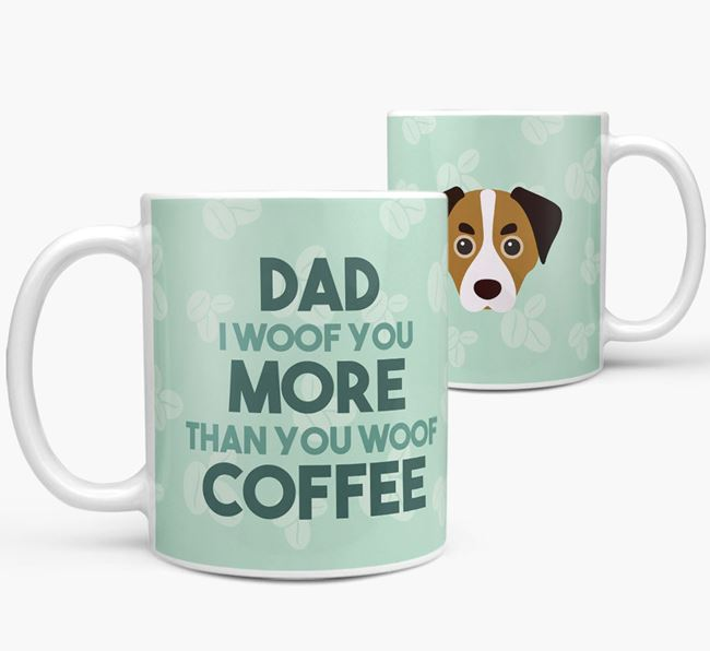 'Dad I woof you more than you woof coffee' Mug with Cheagle Icon