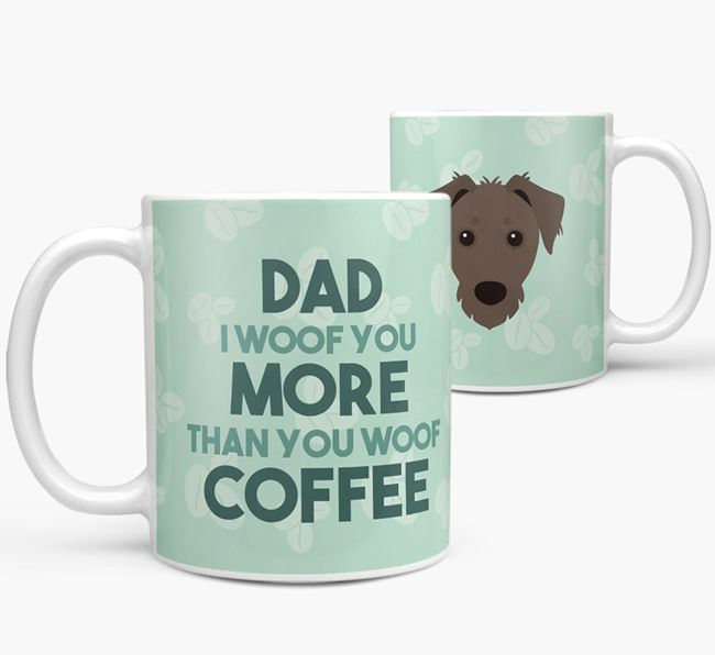 'Dad I woof you more than you woof coffee' Mug with Dorkie Icon