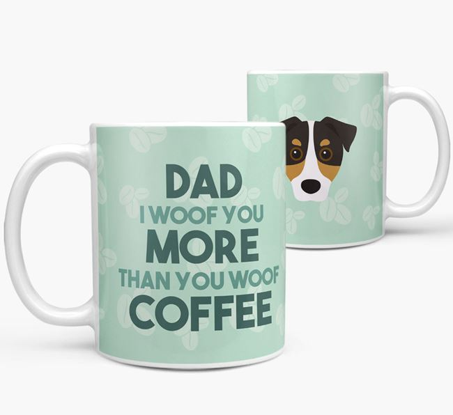 'Dad I woof you more than you woof coffee' Mug with Jack Russell Terrier Icon