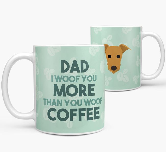 'Dad I woof you more than you woof coffee' Mug with Rescue Dog Icon